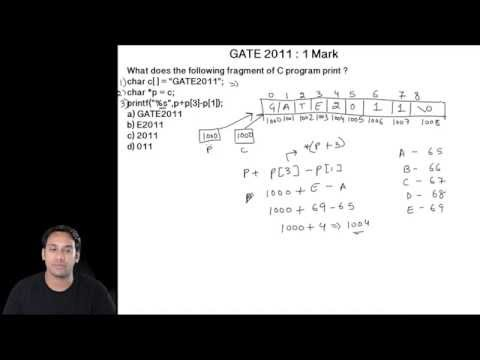 C Programming 23 GATE 2011 Question on Strings Character Array and Pointers