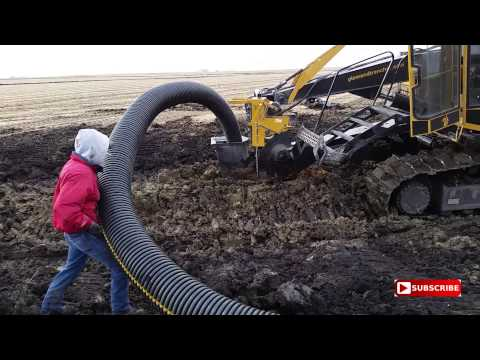 Wolfe 600 Horse Power Tile Plow - Installing 10' and 12' Tile  (712) 358-0818