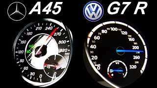 VW GOLF 7 R vs MERCEDES A45 AMG Acceleration 0-250 Onboard Sound Autobahn Test
