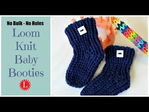 LOOM KNITTING Baby Booties Socks  No Holes No Bulk Step by Step Beginners Project Pattern | Loomahat
