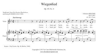 Brahms  Wiegenlied Op 49 No 4  Original Key E Flat Major