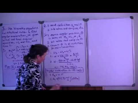 Physics example rotational motion, angular acceleration, tangential acceleration, revolutions.avi