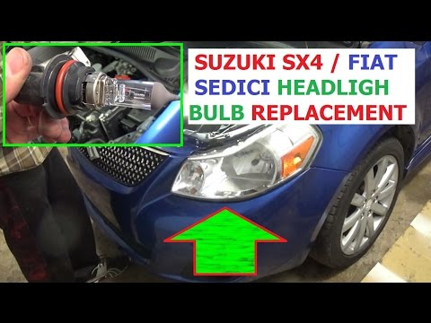 Headlight Bulb Replacement Suzuki SX4 Fiat Sedici 2006 2007 2008 2009 2010 2011 2012 2013