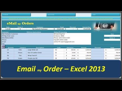 Excel VBA - Email my Order - Excel 2013