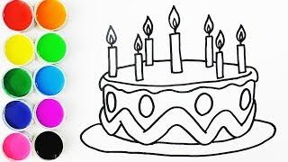 Dibuja y Colorea Torta de Cumpleaños - Draw Birthday Cake - Dibujos Para Niños/ FunKeep