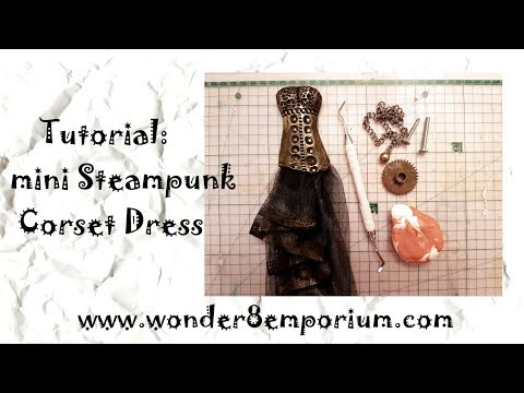How to create mini Steampunk Corset Dress with findings and clay!!! Tutorial #puchina_elena