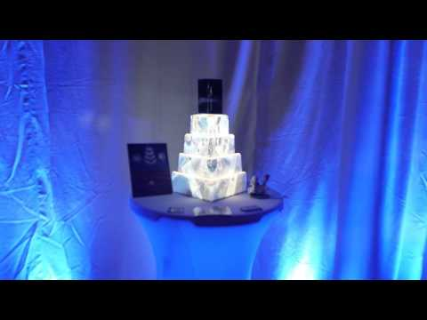 Projection mapped wedding cake and backdrops Winter wonderland wedding bridal show hudson valley