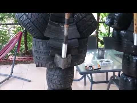 How to make an Eskrima Training dummy 5: spring mounted stick system.