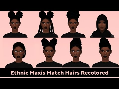 The Sims 4 | MAXIS MATCH JET BLACK HAIR RECOLORS