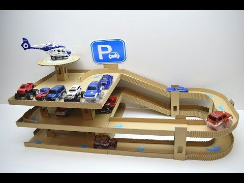 DIY Car track with Parking of cardboard