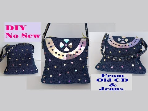 No Sew Clutch Purse With CD & Old Jeans Easy At Home / Fashion Hand Bag / Best Out Of Waste