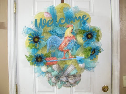 How To Make Carmen's Deco Mesh Rooster Wreath