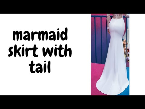How to cut Mermaid/A-line  skirt with cut together tail