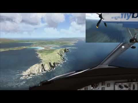 flybe Dash 8 landing at Sumburgh Airport