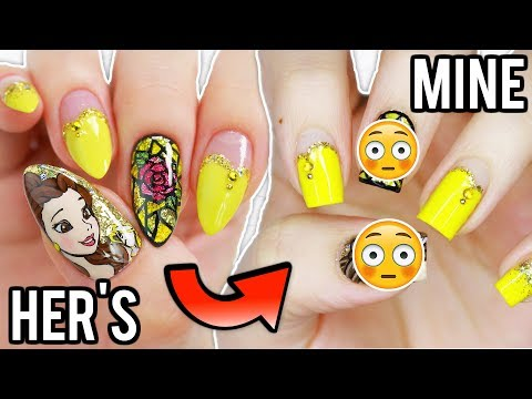I TRIED FOLLOWING MINNIE'S BEAUTY AND THE BEAST NAIL TUTORIAL