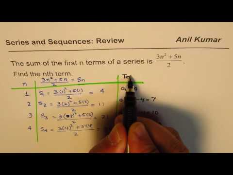 Given sum of n terms of a series to find the nth term MCR3U