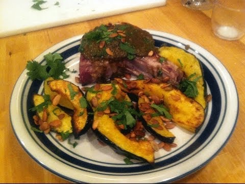 Pan-seared, Curried Porkchops with toasted pepitas and cilantro