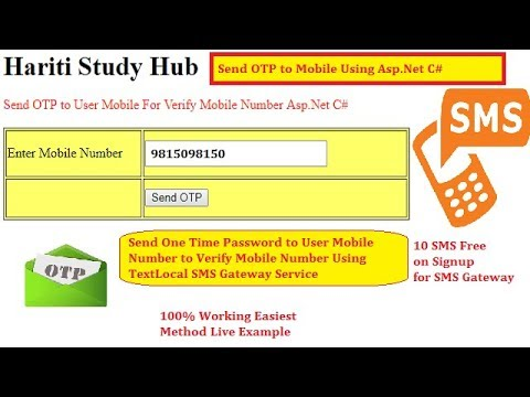 Send OTP ( One Time Password ) SMS to Verify user Mobile Number in Asp.Net C# | Hindi | SMS Gateway