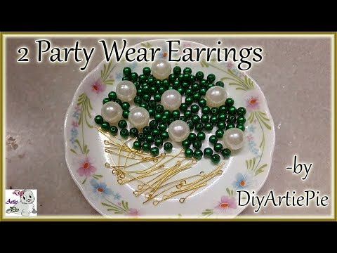 #195 TWO (2) easy Pearl Earring Design | DIY | 5 min Craft | Hand made jewelry | DIYARTIEPIE