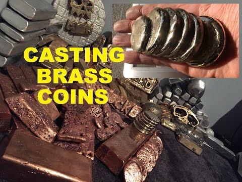 METAL CASTING MOLTEN METAL BRASS COIN CASTING MELTING BRASS