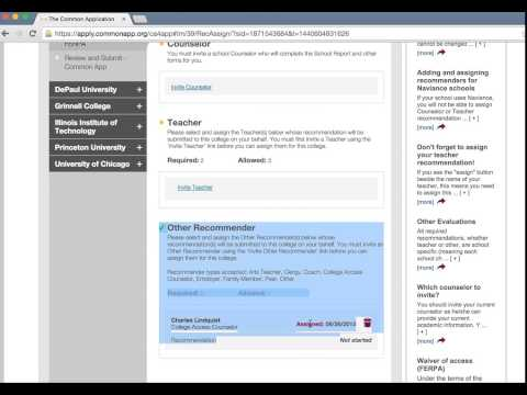 Completing the Common App 2015: Recommenders, Counselor Info, and FERPA Release