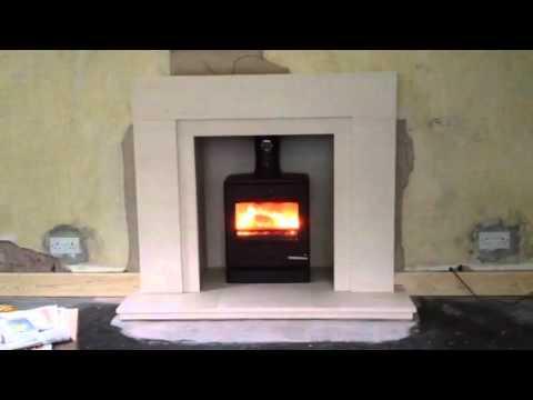 Yeoman CL5 Multi Fuel Stove in Portuguese Limestone Fireplace, Dalton, Ormskirk, Lancashire
