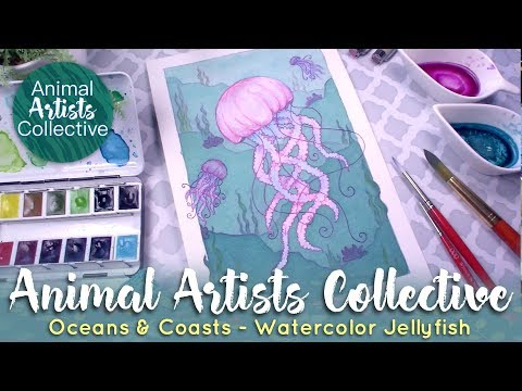 Relaxing Jellyfish Painting // Animal Artists Collective - Oceans & Coasts