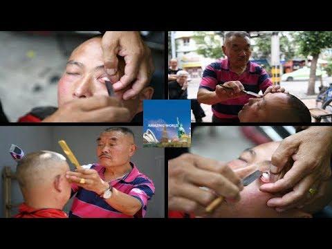 Eyeball SHAVED by barber with razor blade : Expert eyeball shaver : Improve eye vision : Chengdu