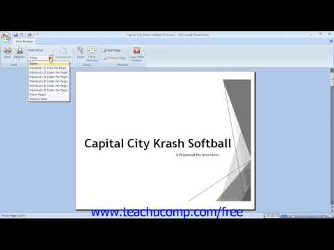 PowerPoint 2007 Tutorial Using Print Preview-2007 Only Microsoft Training Lesson 8.4