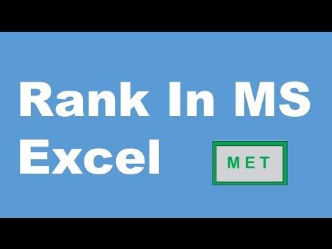 Rank formula in MS Excel 2013