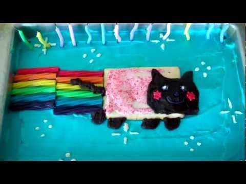 Nyan Cat cake - Easy poptart cat birthday cake
