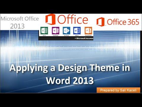 Word 2013 Tutorial:  Applying a Design Theme in Word