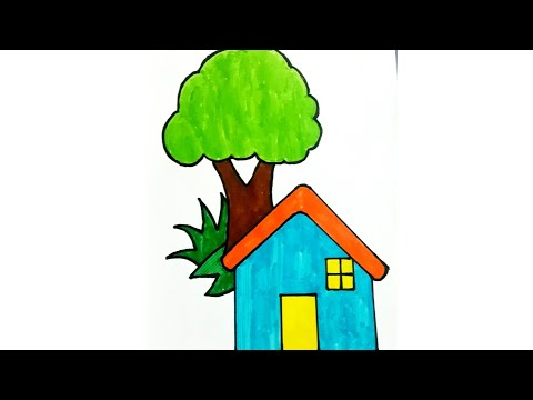 how to draw a simple hut| village house for kids| easy drawing lessons for kids| how to draw hut