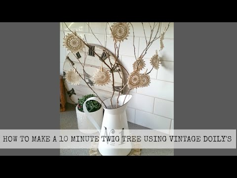 How to make a  DIY Twig Tree using Vintage Doily's 💕