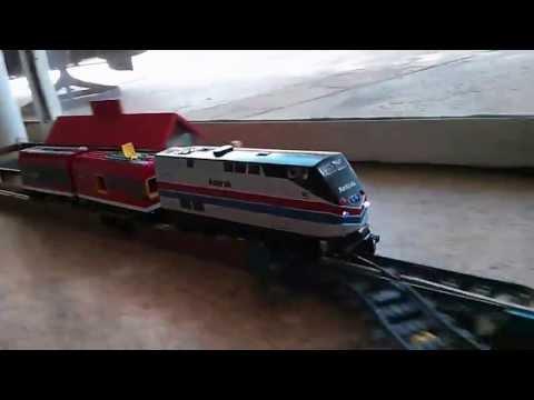 LEGO Amtrak car derails and hits a station
