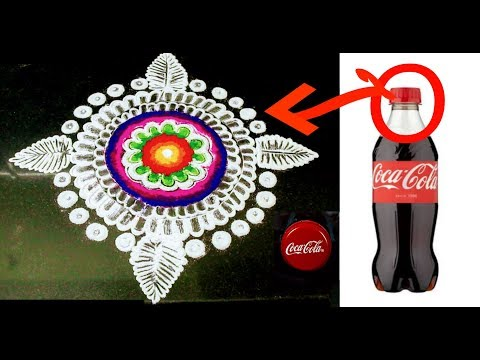 Very Easy Rangoli Design with Bottle Cap | Rangoli design with dots & colours for beginners