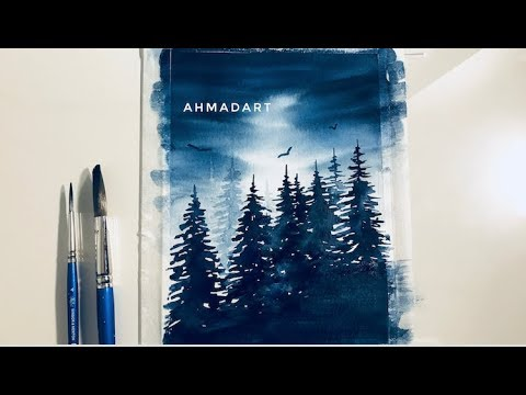 Watercolor Forest Indigo Painting Demonstration