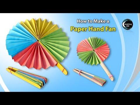 Popsicle Stick, Paper Fan Craft || How to make a paper hand fan || origami fan || paper fan