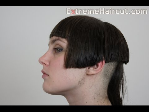 Long to short classic bob hairstyle with short bangs and long tuft - ExtremeHaircut.com model