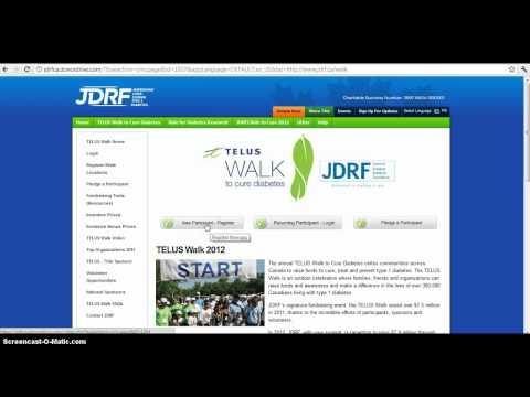 Registering online or login to TELUS Walk 2012