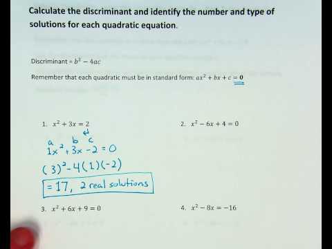 Quadratics - Discriminant w/ 2 real solutions