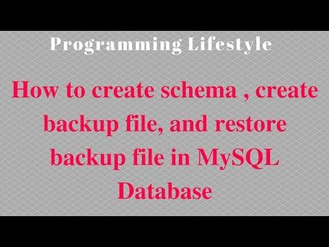 How to create schema,  create backup file,  and restore backup file in MySQL Database