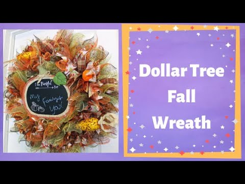 How to make a fall deco mesh wreath with all dollar tree items