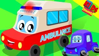 little red car as a cartoon ambulance in the ambulance song by Kids Channel
