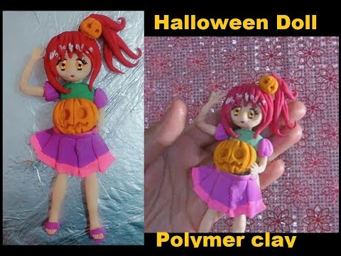 Halloween Polymer Clay anime Doll DIY tutorial