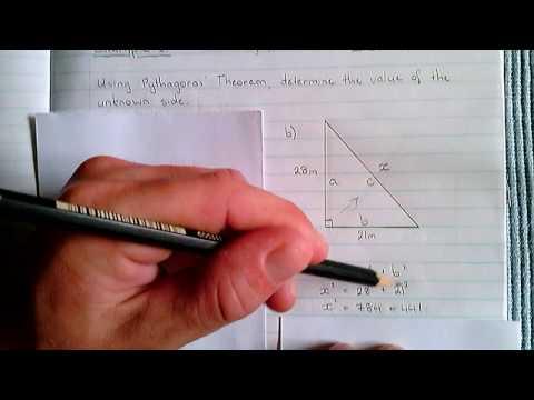 Pythagoras - Example 1 (Unknown 'c')