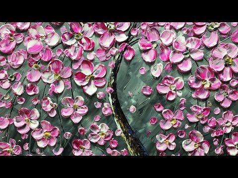 Pink Flower-tree Modern Home Artwork Thick Palette Knife