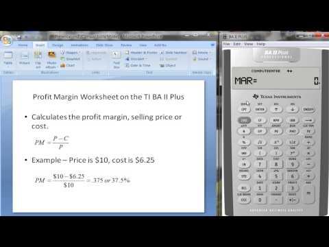 Profit Margin Worksheet on TI BA II Plus Calculator