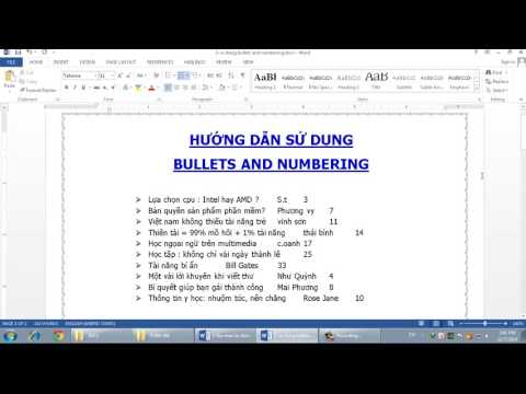Microsoft Word 2013: HƯỚNG DẪN SỬ DỤNG BULLETS AND NUMBERING