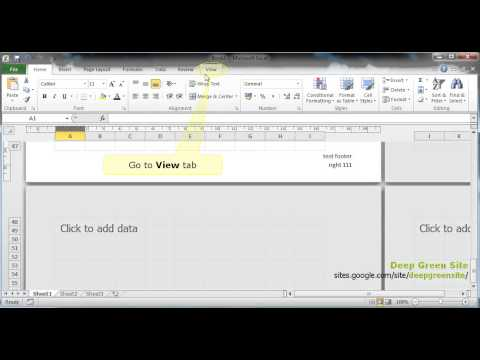 MS Excel 2010 / How to change header and/or footer